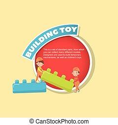 edificio, niño, juguete bloquea, buiding, cartel, descripción, ilustración, creativo, vector, texto, niña, juego