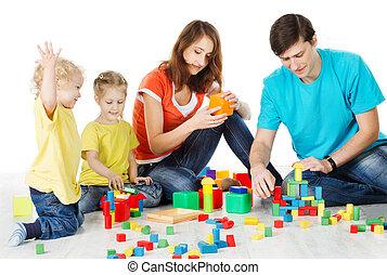 edificio, niños, colorido, familia , encima, bloques, niños, juguete, padres, construya, plano de fondo, juguetes, blanco, juego
