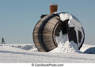 edificio, nieve, árbol., uso, un, elegante, teléfono, sitio web