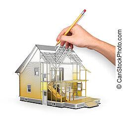 edificio, nosotros, concepto, sketch., render, proceso, ...