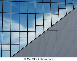 edificio, nubes, reflexión, oficina