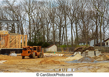 edificio, nuevo hogar, madera, residencial, marco de la construcción, auge, encuadrado, camión, carretilla elevadora