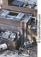 edificio, nyc, rooftop.