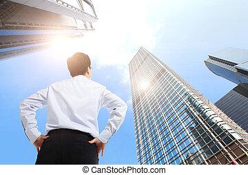 edificio, oficina, empresa / negocio, exitoso, luego, aire libre, hombre