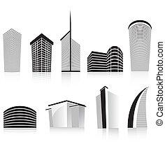 edificio, oficina, empresa / negocio, moderno, negro,...