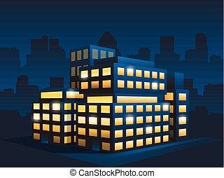 edificio, oficina, genérico, moderno, noche, corporativo