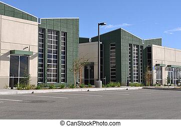 edificio, oficina, terreno, estacionamiento