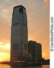 edificio, orilla, ocaso, york, nuevo, contorno