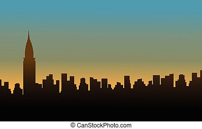 edificio, paisaje, silueta, ocaso, chrysler