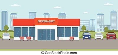 edificio, paisaje., supermercado, estacionamiento, urbano, ...