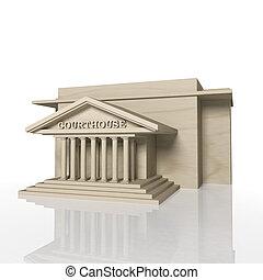 edificio, palacio de justicia, render, reflexión, blanco, 3d