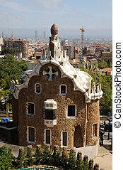 edificio, parc, gaudis, antoni, barcelona, g�ell, españa