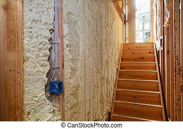 edificio, pared, dentro, casa, de madera, construcción, debajo, aislamiento