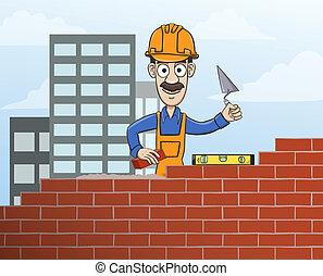 edificio, pared, ladrillo, rojo, albañil