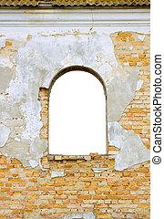 edificio, pared, ventana, viejo