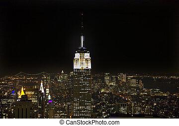 edificio, perfil de ciudad, estado, york, noche, nuevo, imperio