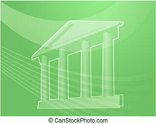 edificio, pilares, ilustración, magnífico