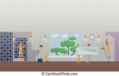 edificio, plano, concepto, casa, ilustración, reparación, vector, style.