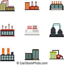 edificio, plano, estilo, industrial, iconos, conjunto