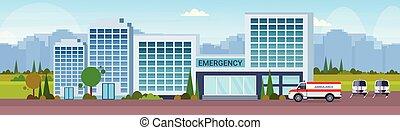 edificio, plano, exterior, coche, hospital, moderno, ...
