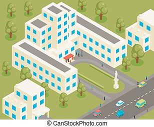 edificio, plano, isométrico, universidad, colegio, o, 3d