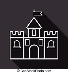 edificio, plano, sombra, largo, castillo, icono