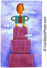 edificio, posición, cima, hombre de negocios, alto