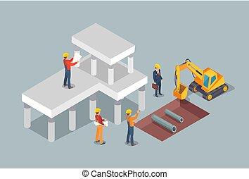 edificio, proceso, colorido, vector, ilustración