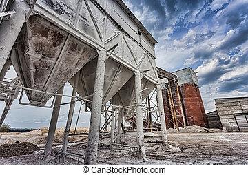 edificio, producción, contenedor, planta, mezclas