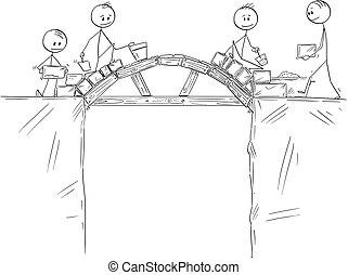 edificio, puente, trabajadores, grupo, encima, o, precipicio, hombres de negocios, abismo, constructores, caricatura