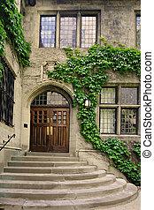 edificio, puerta, histórico