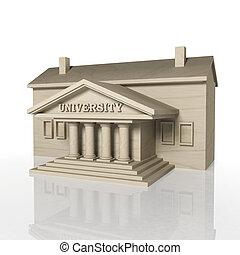 edificio, render, universidad, reflexión, blanco, 3d