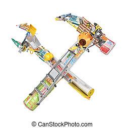 edificio, reparación, forma, hammer., concept., ilustración, puesto, llave inglesa, afuera, herramientas, 3d