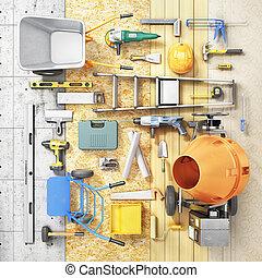 edificio, reparación, forma, hammer., concept., ilustración,...
