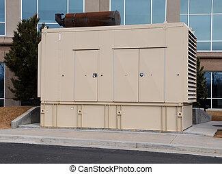 edificio, reserva, diesel, generador, oficina
