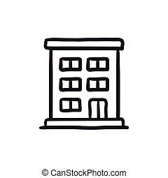 edificio, residencial, bosquejo, icon.