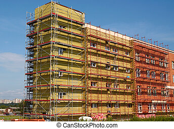 edificio, residencial, cáscara, aislamiento, nuevo