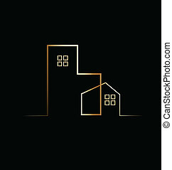 edificio, residencial, casa, logotipo