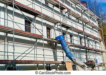 edificio, residencial, renovación