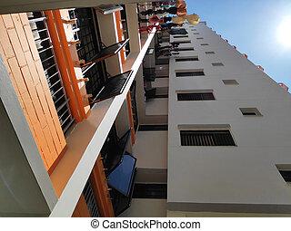 edificio, residencial, singapur