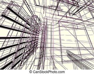 edificio, resumen, moderno