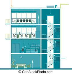 edificio, sección, oficina