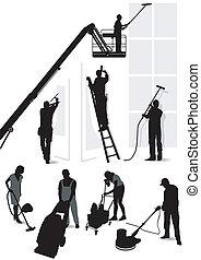 edificio, servicios, limpieza