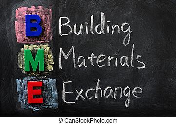 edificio, siglas, intercambio, materiales, bme