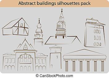 edificio, siluetas, paquete