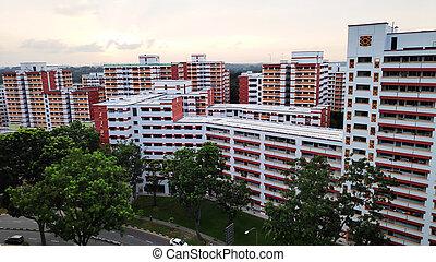 edificio, singapur, residencial, también, hdb, conocido