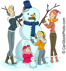 edificio, snowman