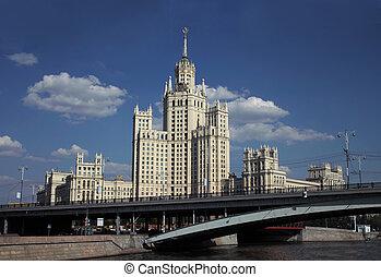 edificio, stalin, torre, russia., moscú