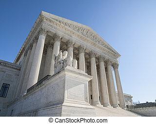edificio, supremo, unido, tribunal, estados, fachada