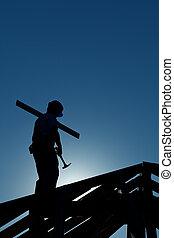 edificio, tarde, constructor, cima, trabajando